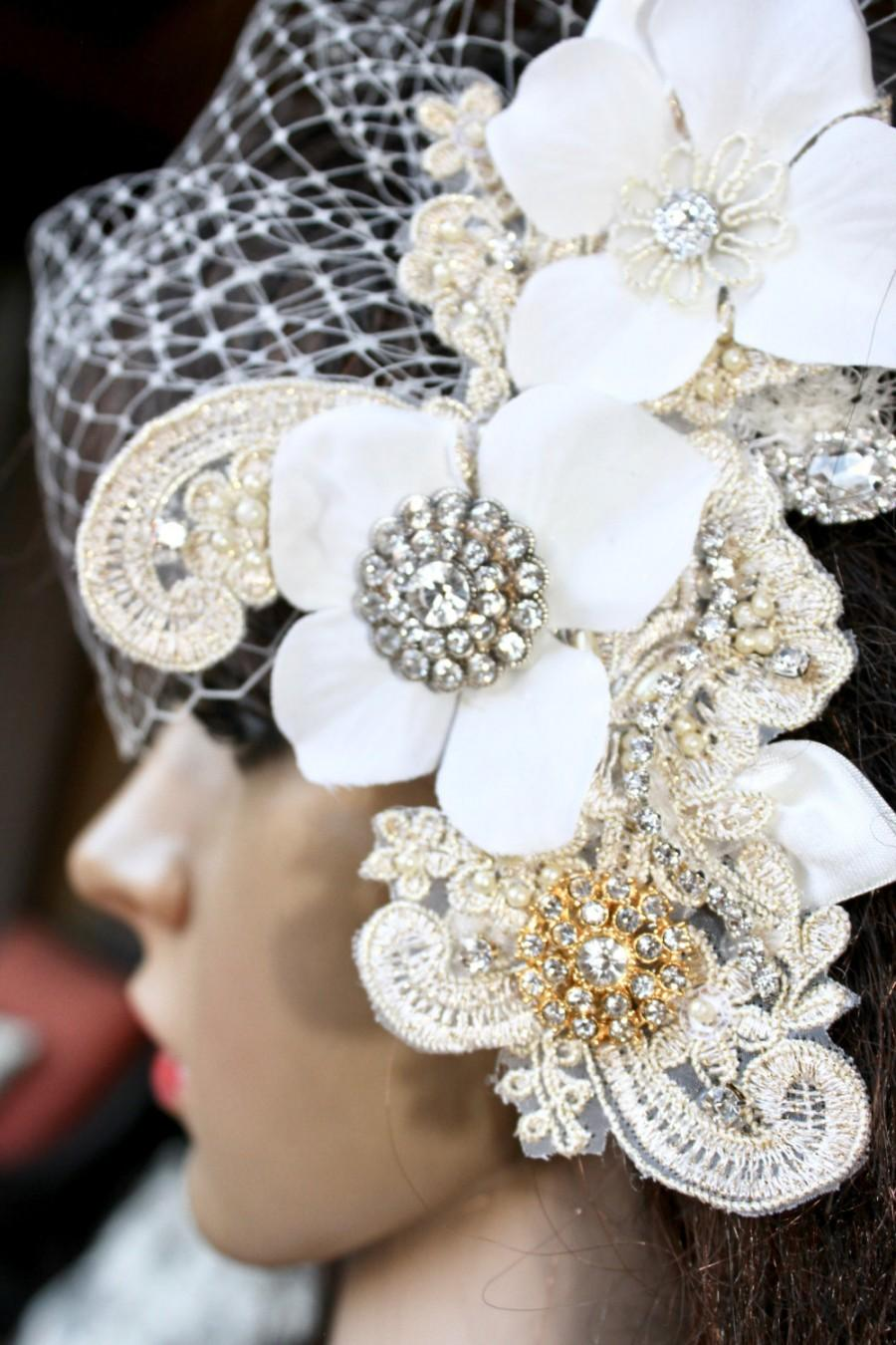 "Свадьба - Roaring Twenties Birdcage Veil with Glitzy Silver & Gold Fascinator ""Brooke"""