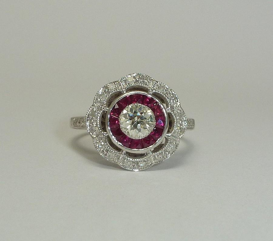 Свадьба - Gorgeous Diamond & Ruby Target Motif Ring in 14k White Gold
