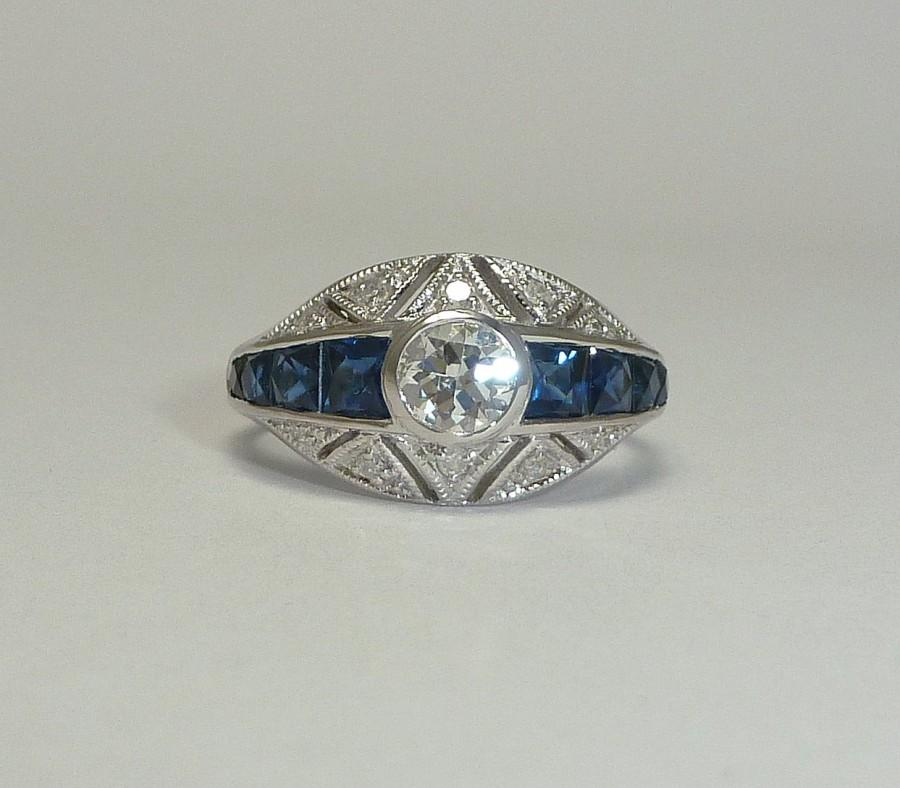 Wedding - Mid Century 1.80ct Diamond & French Cut Sapphire Engagement Ring in 14k White Gold