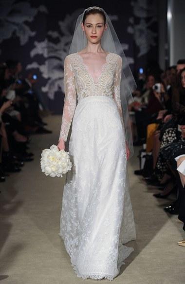 Свадьба - Women's Carolina Herrera 'Claudette' V-Neck Long Sleeve Lace A-Line Dress