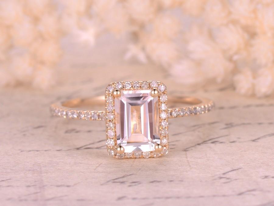 5x7mm Emerald Cut White Topaz Engagement Ring 14k Yellow Gold Diamond Halo Topaz Ring Ball Prongs Blue Topaz Emerald Moissanite Available 2636337 Weddbook