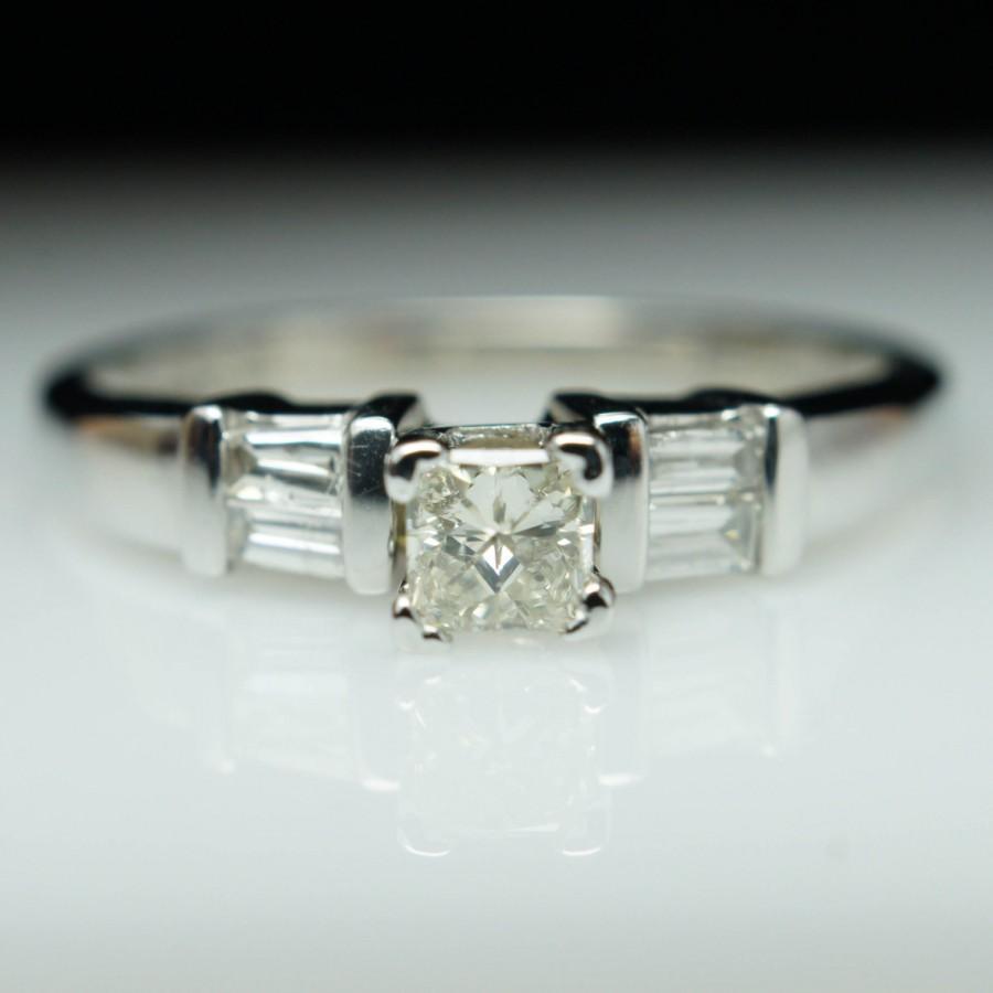 Vintage Engagement Ring Unique Diamond Engagement Ring Princess Cut Diamond  Solitaire Square Diamond Ring Unique Simple Vintage Diamond Band