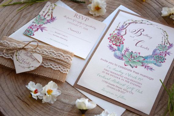Свадьба - Garden Succulents Wedding Invitation, Nature Wedding Invitation, Watercolor Wedding Invite, Colorful Wedding Invitation - SAMPLE