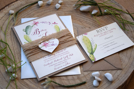 Mariage - Rustic Garden Wedding Invitation, Floral Cactus Wedding Invitation, Nature Watercolor Wedding Invite, Eco Friendly Wedding Invitation SAMPLE