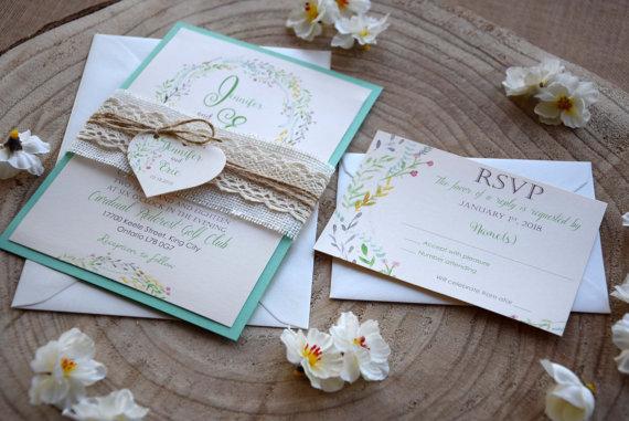 Свадьба - Floral Teal Wedding Invitation, Nature Garden Wedding Invitation, Floral Watercolor Wedding Invite, Burlap and Lace Wedding Invite - SAMPLE