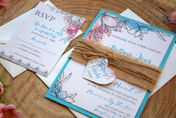 Mariage - Turquoise Wedding Invitation, Floral Watercolor Wedding Invitation, Botanical Colorful Wedding Invitation, Custom Wedding Invites - SAMPLE