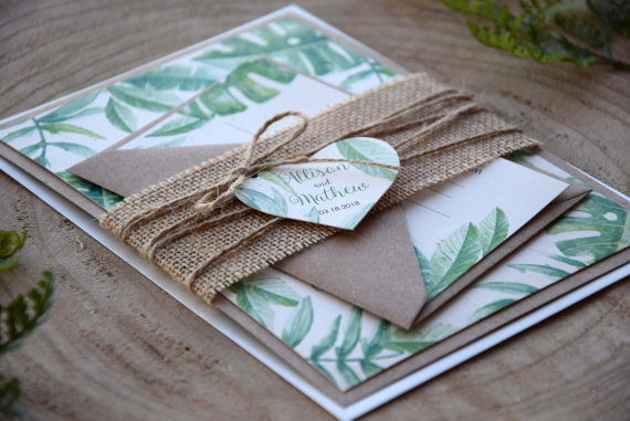Свадьба - Rustic Green Wedding Invitation, Tropical Greenery Leaves Wedding Invitation Garden Nature Wedding Invitation, Eco Friendly Invite - SAMPLE