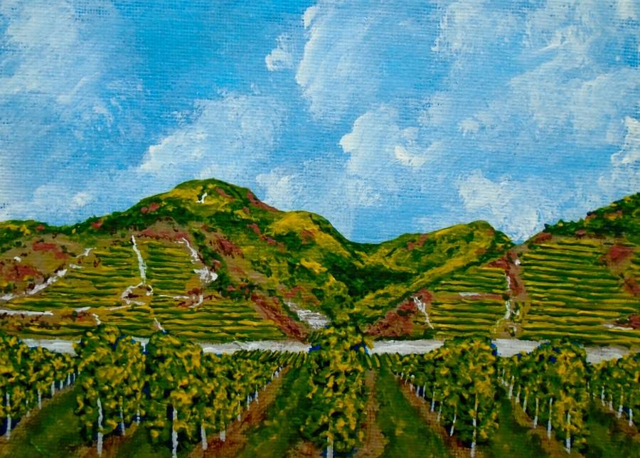 "Wedding - Vineyards of the Wachau Valley (ORIGINAL ACRYLIC PAINTING) 5"" x 7"" by Mike Kraus"