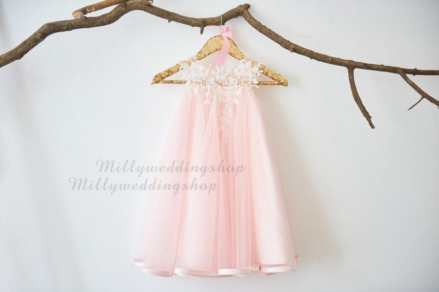 Wedding - Ivory Lace light pink Tulle Flower Girl Dress M0026
