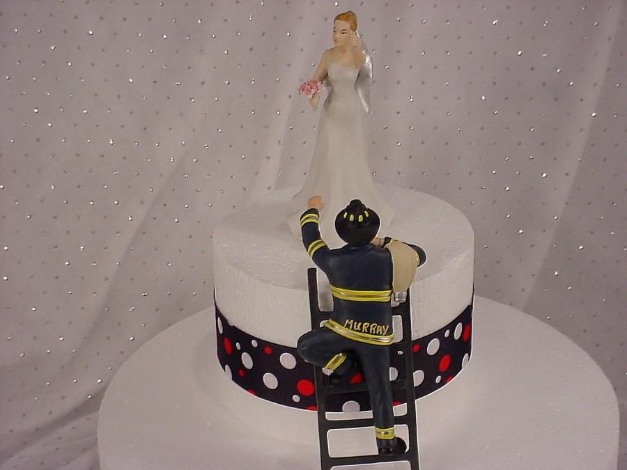Mariage - Personalized Custom Fireman Groom with Victorious Bride Firefighter Wedding Cake Toppers Fire Add Name to Jacket and Number to Fire Helmet-1