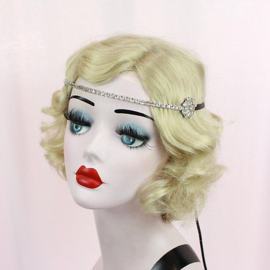 Mariage - Great Gatsby, Silver Flapper Headband, Hair Accessory, Swarovski Crystal Hair Jewelry, Bridal Headpiece, Halloween Costume,