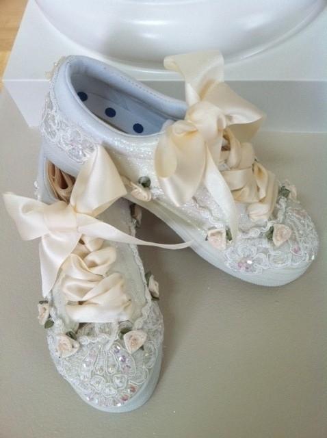 Свадьба - Ivory Original Beaded Bridal Sneakers in Ivory