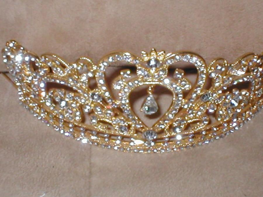 زفاف - Extraordinary GOLD Rhinestone Tiara Crown