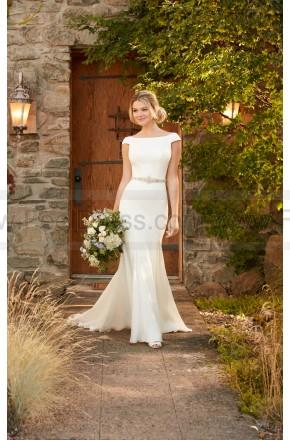 Wedding - Essense of Australia Boat Neck Wedding Dress With Cap Sleeves And Deep-V Back Style D2261