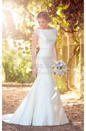 Wedding - Essense of Australia Modern Fit And Flare Wedding Dress With Embellished Cap Sleeves Style D2241