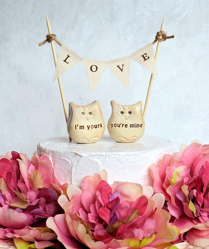 Mariage - Wedding cake topper...i'm yours, you're mine Love bird owls and LOVE banner included...package deal