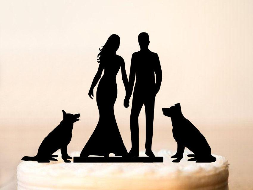 Wedding - Wedding cake toppers with dogs,Mr and Mrs cake topper with dogs,Silhouette cake topper,Bride and Groom Silhouette,Wedding cake topper (0096)