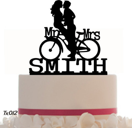 Mariage - Wedding Cake Topper Mr and Mrs Customized Bicycle with your Last Name