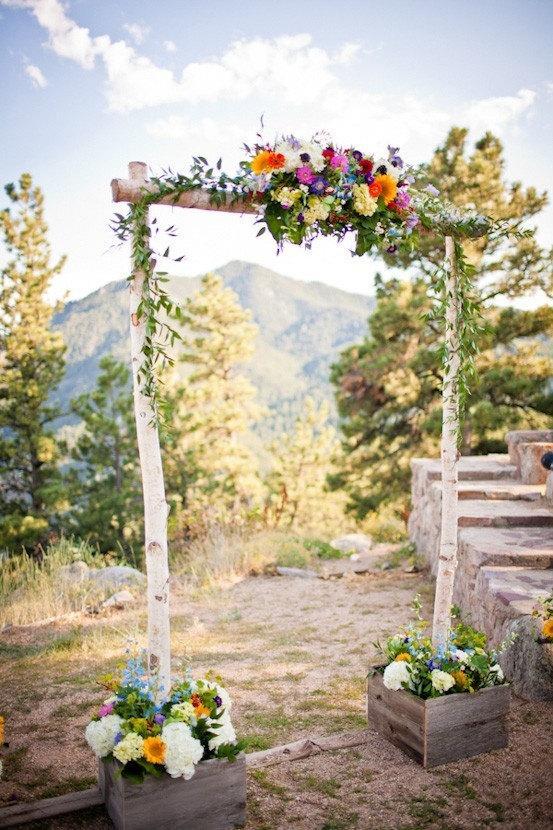 Wedding - Three Piece Wedding Arch - Chuppah /Birch Poles