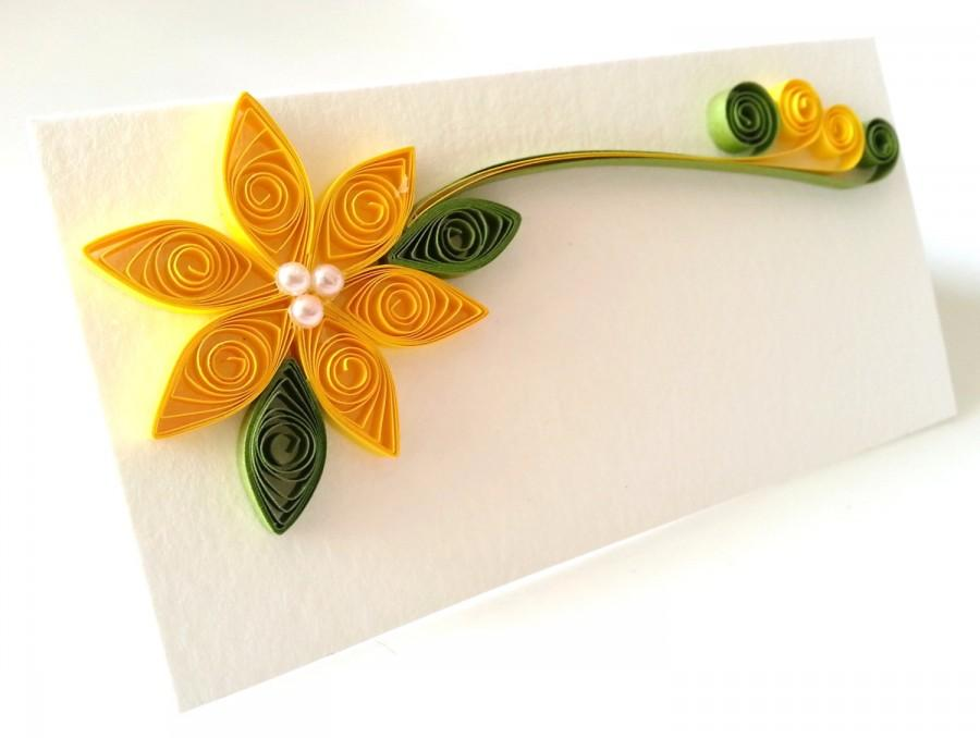 Mariage - Yellow Wedding Place Card Paper Quilled Flower - 100 Cards - Assorted Colors available Made to Order