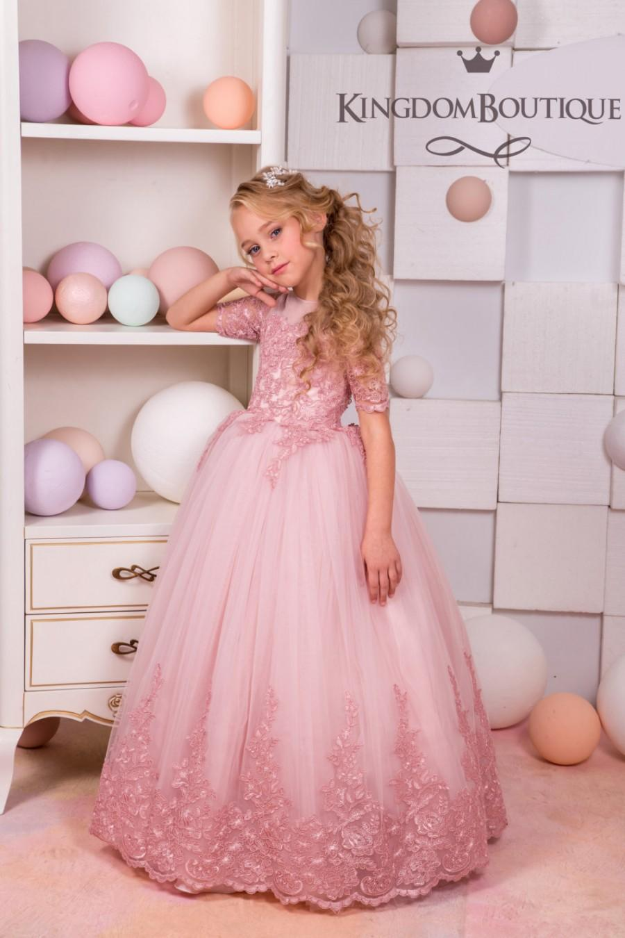 Wedding - Blush Pink Lace Tulle Flower Girl Dress - Wedding party Holiday Bridesmaid Birthday Blush Pink Flower Girl Tulle Lace Dress 15-043