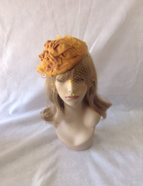 Gold Mustard Wool Felt Wedding Fascinator Hat 31b06a8da49
