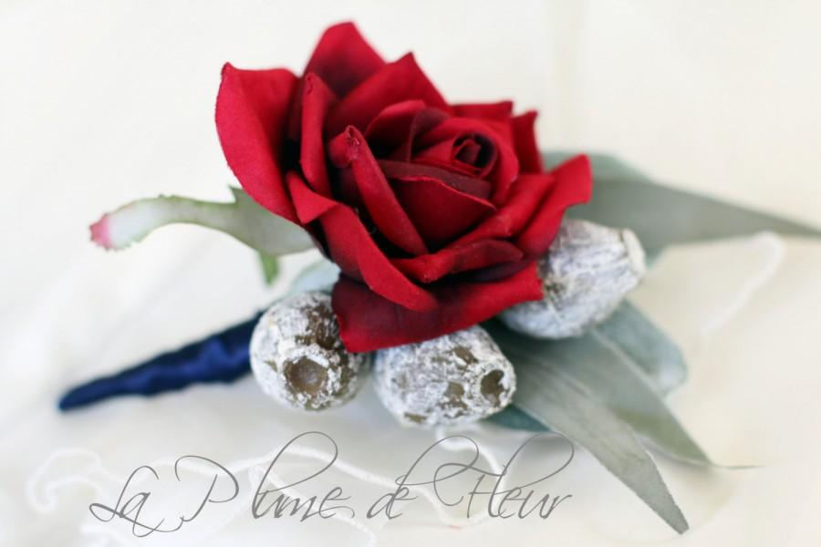 Mariage - Menzies - RED and Grey Men's Buttonhole / Boutonniere.  Red Rose, dusty grey gumnuts and Australian native foliage.
