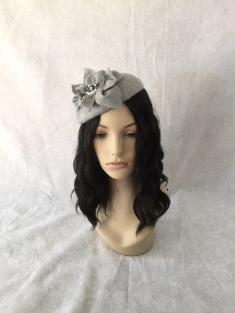 Grey Wool Felt Fascinator Hat 1cb15168883