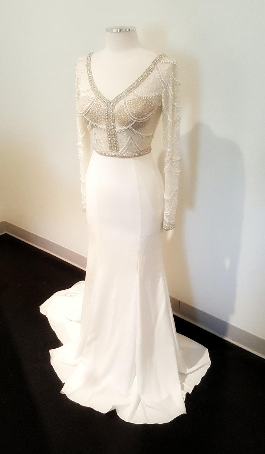Mariage - Hand beaded and embroidered fitted wedding dress, couture, geometric unique wedding dress, sheer and sexy wedding dress, wedding dress shop