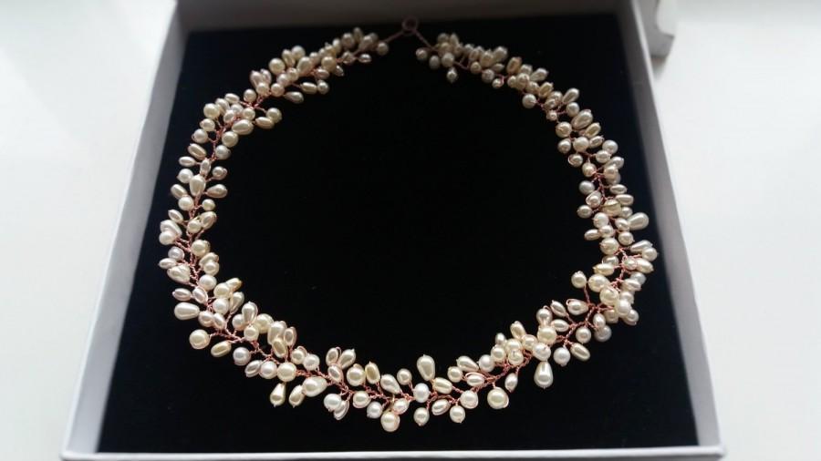 Mariage - Bridal pearl hair vine, wedding headpiece, pearl tiara, bride hair accessory, ivory pearl headpiece, rose gold hair vine