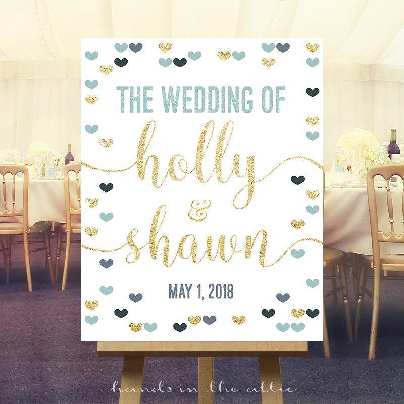 Hochzeit - Printable wedding sign, welcome signage wedding decoration, printable display, sign welcome, the wedding of, custom DIGITAL file