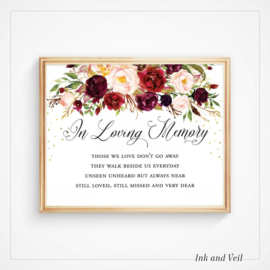 in loving memory wedding sign, memorial sign, wedding printable, Powerpoint templates