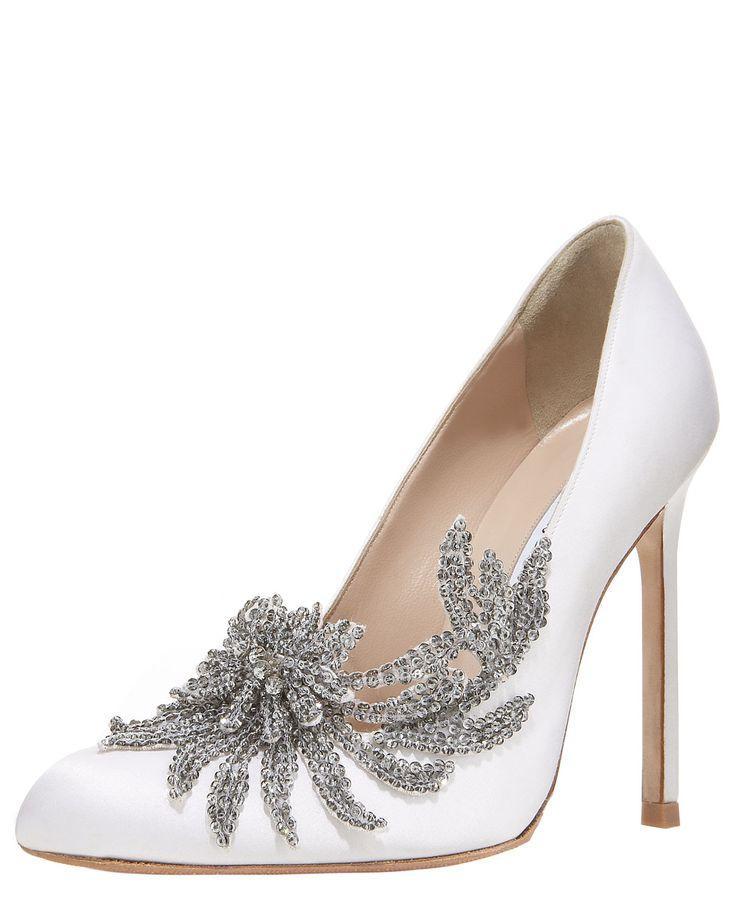 Свадьба - Swan Embellished Satin Pump, White