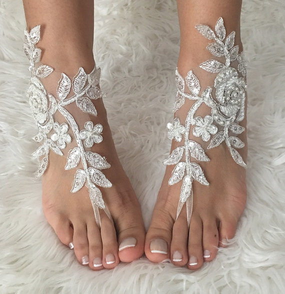 Wedding - FREE SHIP, ivory Barefoot silver frame , french lace sandals, wedding anklet, Beach wedding barefoot sandals, embroidered sandals.