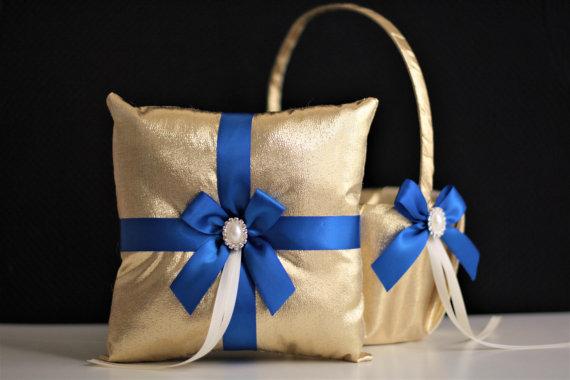 Hochzeit - Royal Blue Flower Girl Basket   Ring Bearer Pillow Set  Gold and Blue Wedding Basket Pillow Set  Gatsby Wedding with Royal Blue