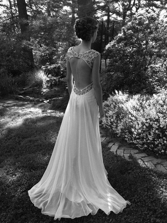 Mariage - A Line Ivory Backless Wedding Dresses, Long Backless Prom Dresses