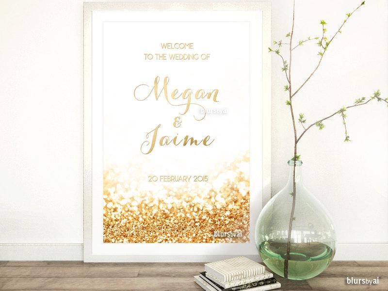 Свадьба - Custom PRINTABLE wedding welcome sign, gold wedding, gold foil sign, gold welcome sign, diy printable sign, gold glitter -wed015 Olivia