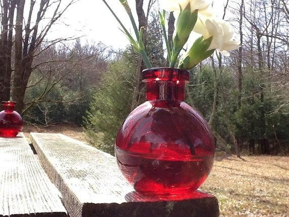 2 Red Vases Red Glass Vase Red Bud Vase Red Potion Bottle Alice In