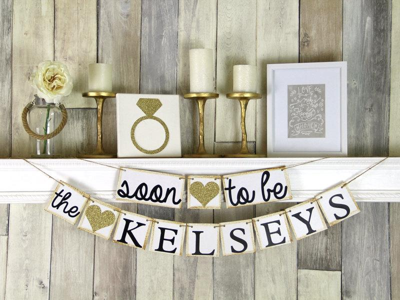 Mariage - Engagement Party Decor, Engagement Party Ideas, Engagement Party Sign, Soon to be Banner, Gold Bridal Shower Decor, Gold Bridal Shower,
