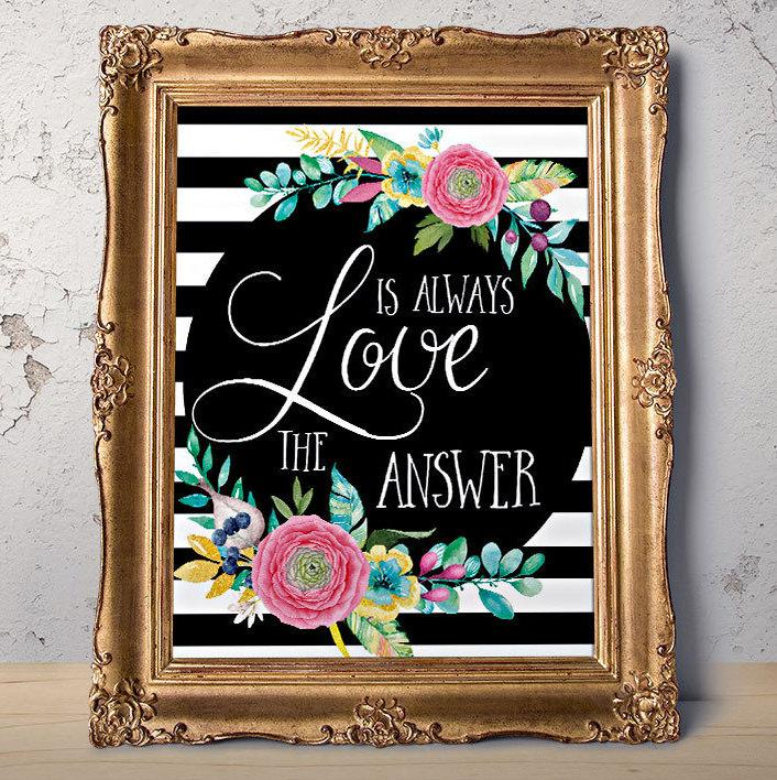 Mariage - Love printable art Love is always print Love Quote Girlfriend gift Bedroom decor Love print Gift for her Romantic Wedding quote Teen room