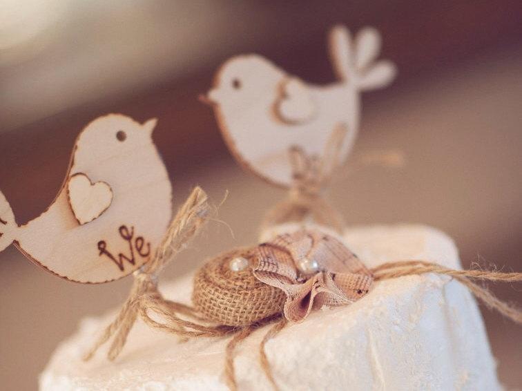 Свадьба - We Do, Rustic Wedding Cake Topper, Bird Cake Topper - Rustic Cake Topper, Wooden Cake Topper