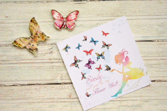 Hochzeit - Will you be my Flower Girl , Butterfly  , Flower girl proposal, Flower girl gift, Fairy card, Be my flower girl