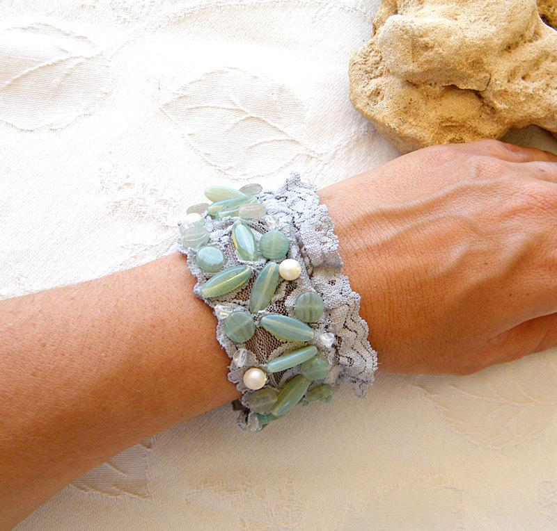 Mariage - Wedding  Cuff,  Romantic Wide  Bracelet,  Vintage Style Mint Cuff maid from antique Lace, Embroidered Mint  Beads & Pearls, Shabby chic Cuff