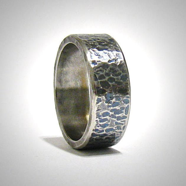 Stainless Steel Mens Wedding Band Ring 8mm: Mens 8mm Wide Rustic Hammered Oxidized Stainless Steel
