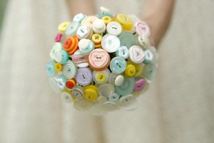 Wedding - The Sweet Rosie Bouquet - Pastel love heart alternative button bouquet