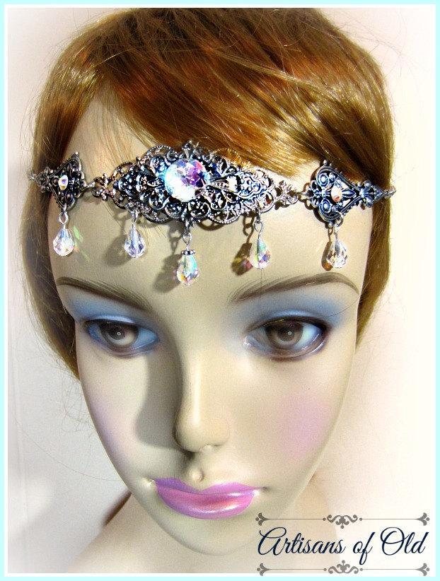 Mariage - Renaissance Wedding Headpiece, Crystal Headdress w Renaissance Earrings