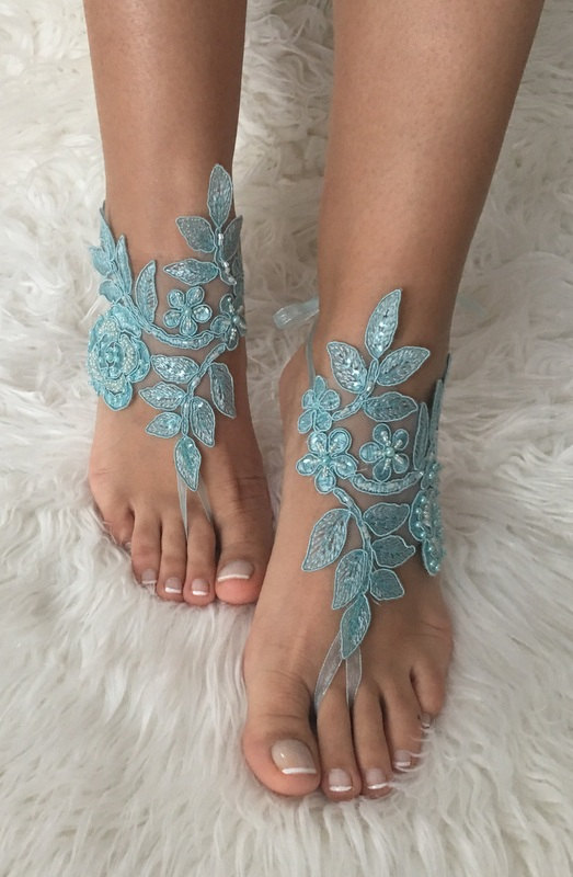 Free ship blue lace barefoot sandals beach wedding barefoot sandals free ship blue lace barefoot sandals beach wedding barefoot sandals belly dance lace shoes wedding shoe bridesmaid gift beach shoes junglespirit Images