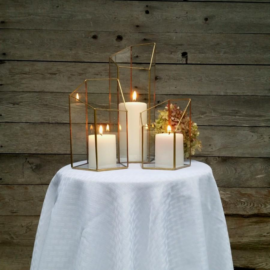 Gold Wedding Centerpieces: Gold Candle Holder, Lighting, Wedding Centerpiece, Stained
