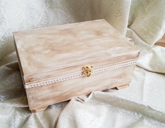 Wedding - Wooden wedding cards box rustic looking old vintage cotton lace shabby chic custom keepsake memory box
