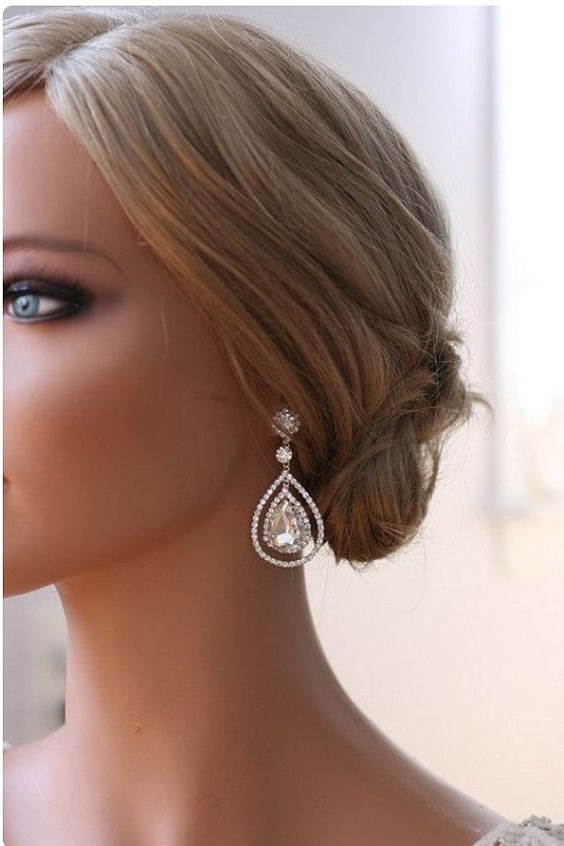 Wedding - Silver Bridal Earrings Teardrop Earrings  Dangle Crystal Teardrop Earrings Best Bridal Earrings Crystal Embellished Earrings
